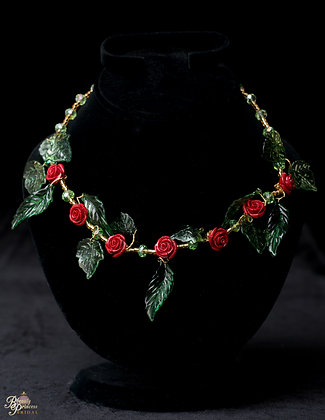 Beauty and the Beast Leafy Rose Necklace