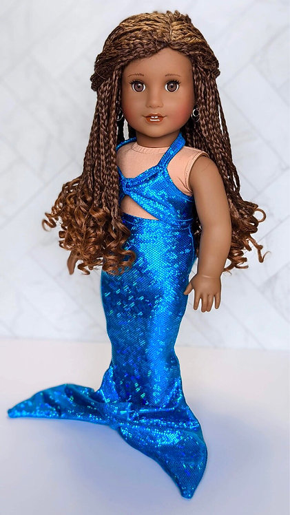 Turquoise Blue Holographic Mermaid Outfit