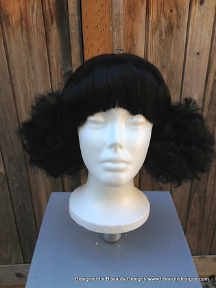Afro Pigtail Wig 1970's Inspired Style with Bangs