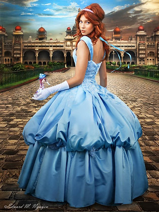 Cinderella Couture Light Blue Satin Ball Gown