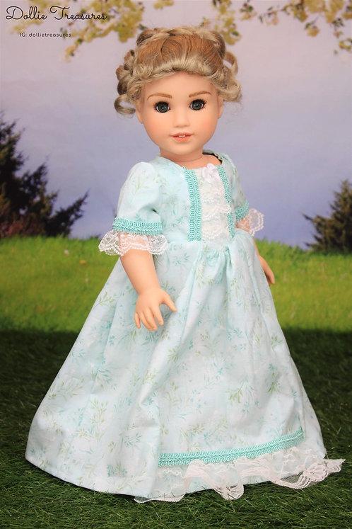Marie Colonial Dress in Light Aqua Vine