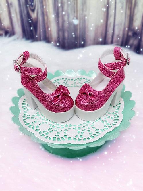Glitter Bow Platforms in Fuchsia Pink