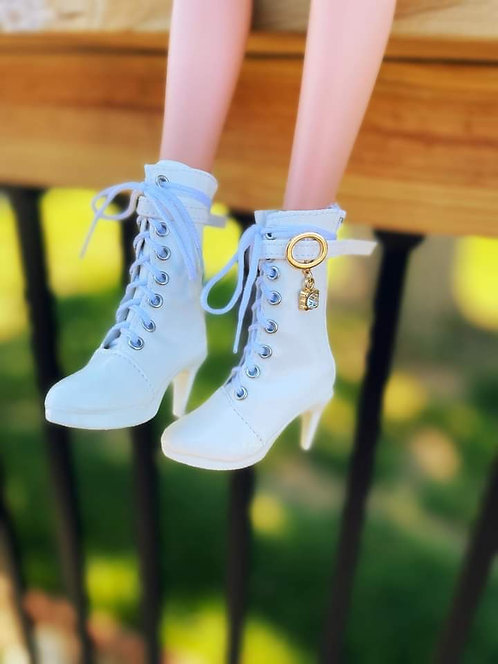 Fashion Calf Bling Boots in Winter White