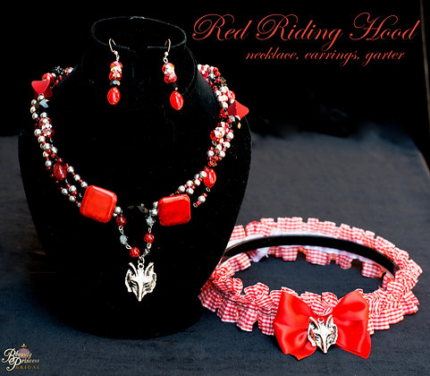 Red Riding Hood Garter and Necklace Set