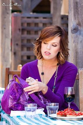 Wisteria Custom Purple Leather Hobo Handbag