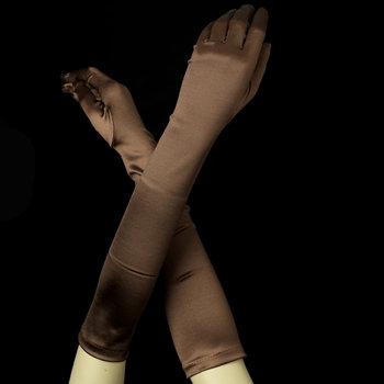 Satin Gloves - Brown