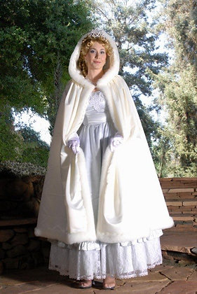 Faux Fur & Satin Lined Bridal Cloak Cape