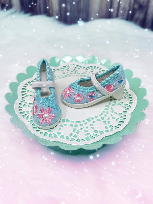 Embroidered Canvas Heels in Sky Blue