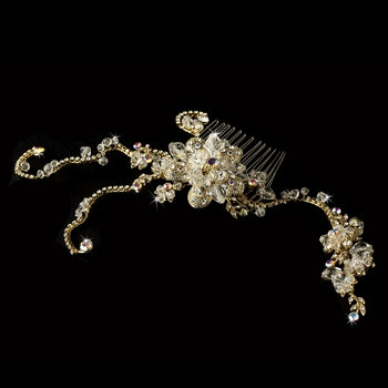 Belle's Gold Crystal Hair Comb with Jeweled Vines