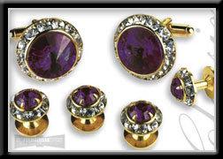 Royal Prince Crystal Cufflink & Stud Set Amethyst