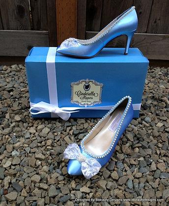 Cinderella Regal Blue Satin Bridal Shoes Heels
