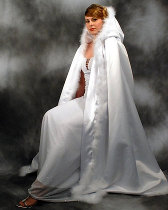 Feather Marabou & Satin Bridal Cloak Cape