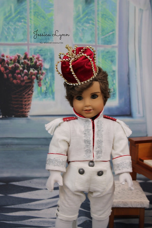 Doll Crown - Red Velvet Jeweled King Crown Full Size