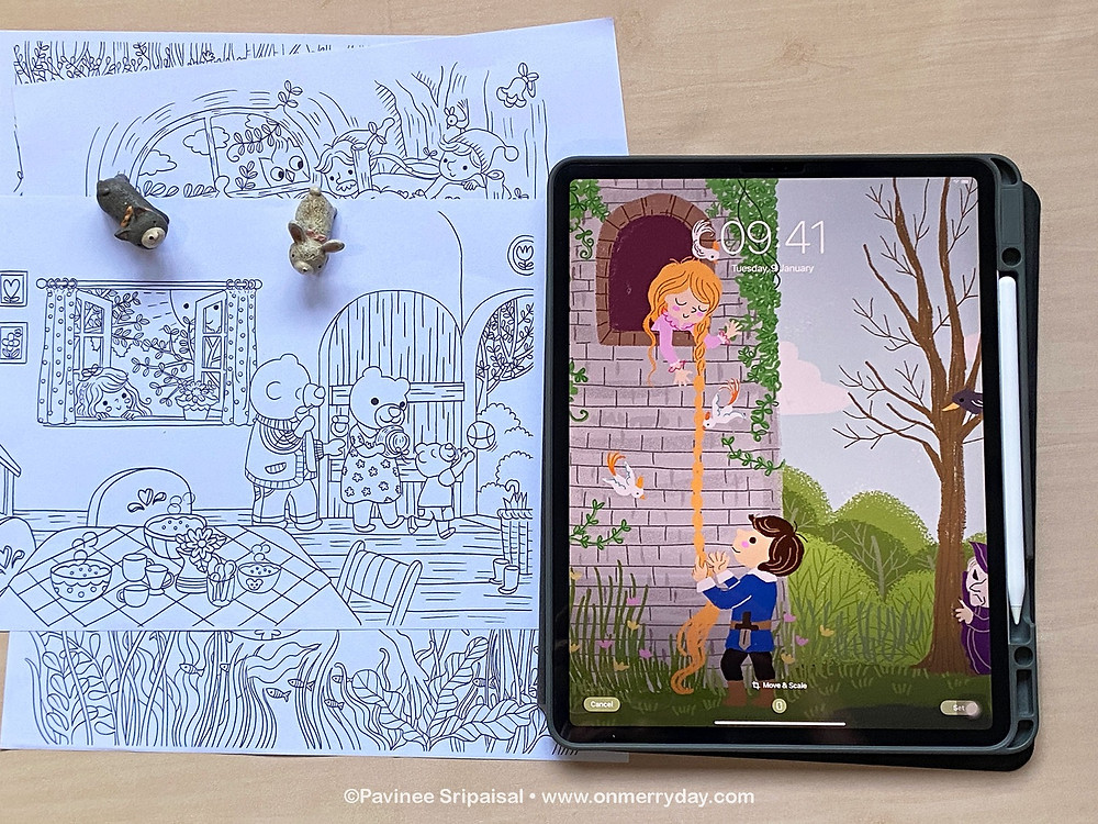 Fairy tales kid illustration and coloring pages