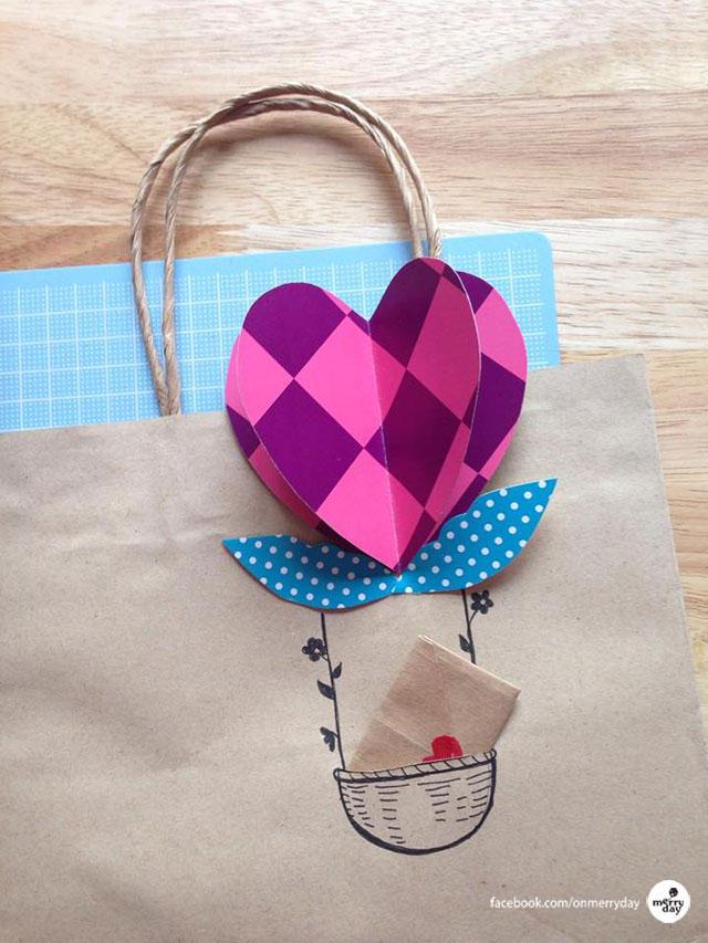 Heart-Air Balloon Gift Bag and Bookmark