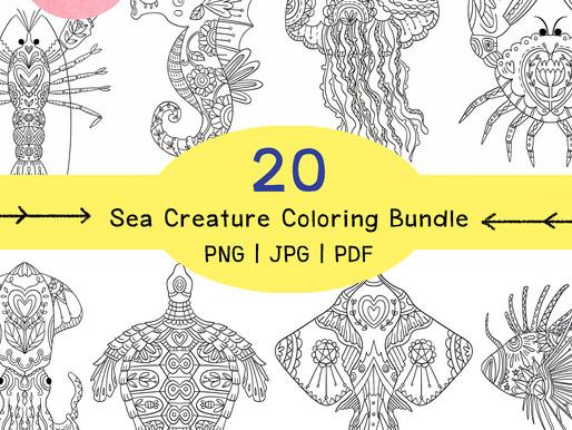 Sea creature coloring bundle