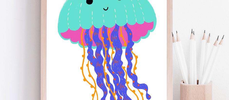 Sea Creature cute art for kid playroom decor