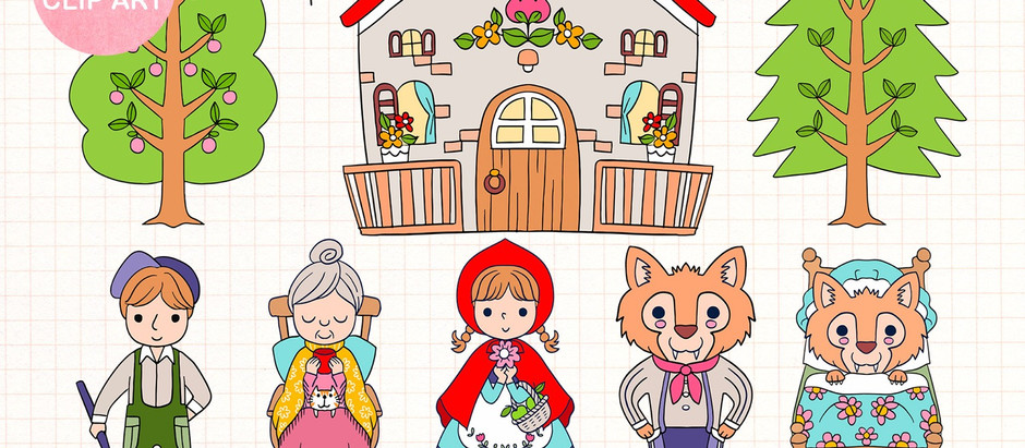 Little Red Riding Hood and Gnome Bee Happy clip art