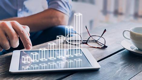 Businessman analyzing growing 3D AR char