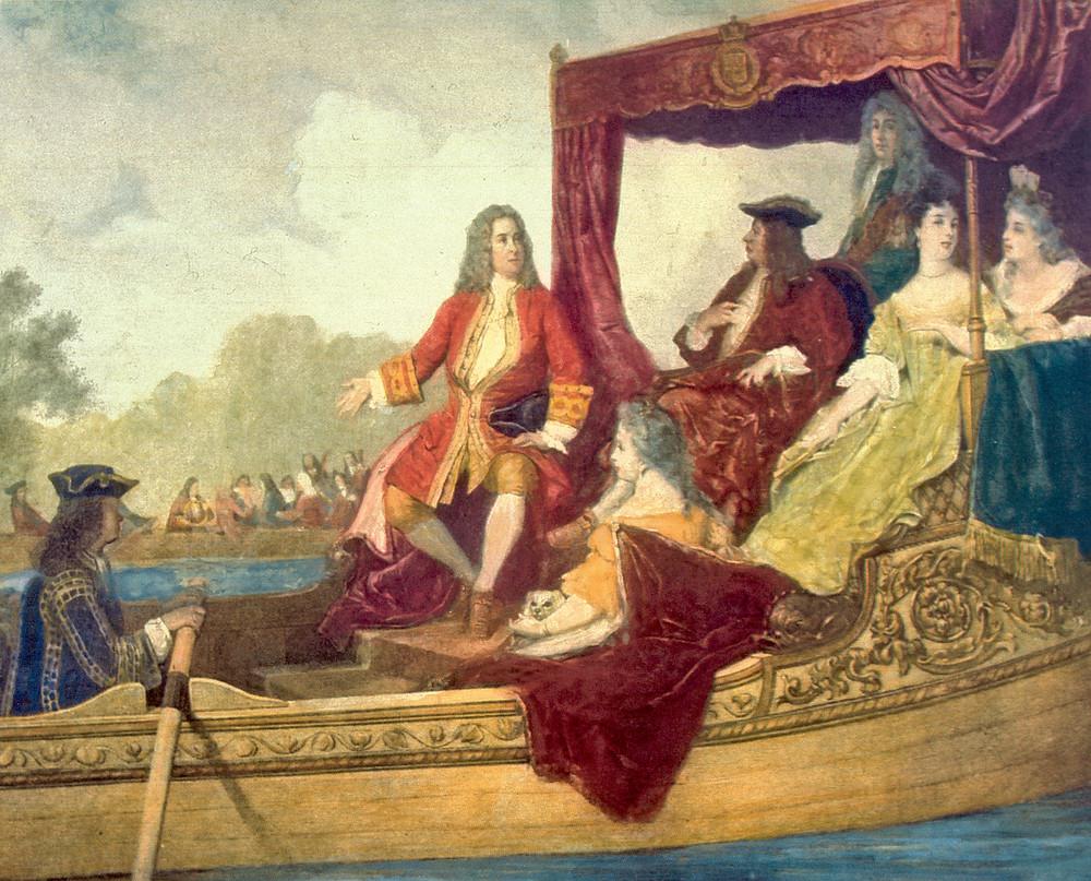 Haendel a la izquierda y el rey Jorge I a su paso por el Támesis el 17 de juliode 1717. Pintura del siglo XIX de Edouard Jean Conrad Hamman.