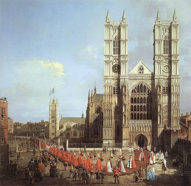 """Westminster Abbey, with a Procession of Knights of the Bath"". Giovanni Antonio Canaletto"
