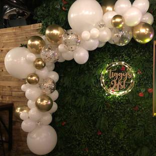White, Gold & Confetti Balloon Garland