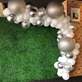 white and silver wedding balloon garland