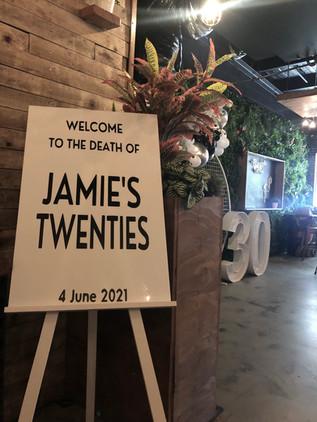 Death of Jamies Twenties Signage