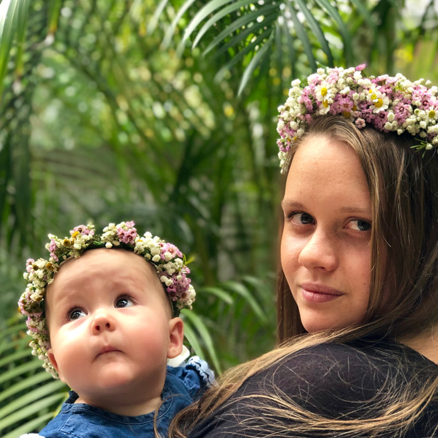 mom and baby matching flower crowns