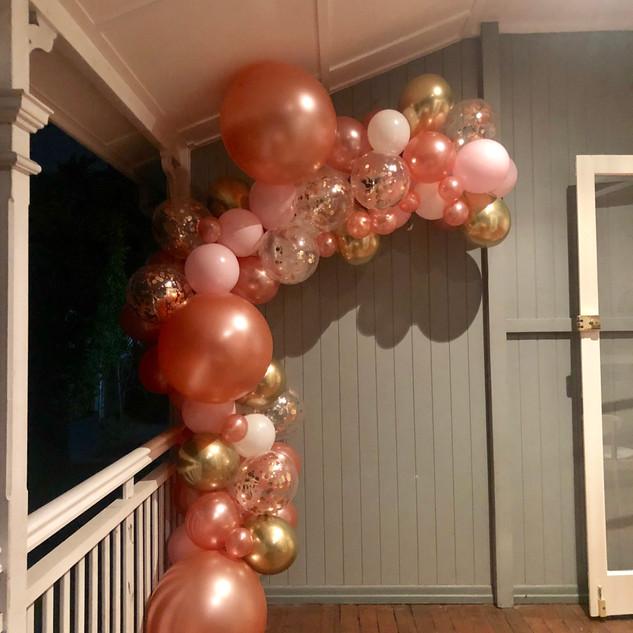 Rose Gold 21st Birthday Balloon Garland