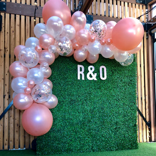 engagement party balloon garland and wall