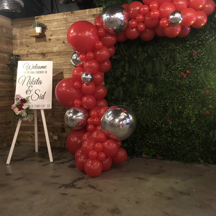 Red Garland with Silver Foil Balloons