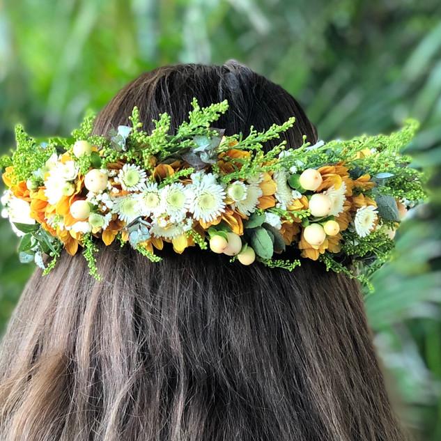 orange, autum flower crown