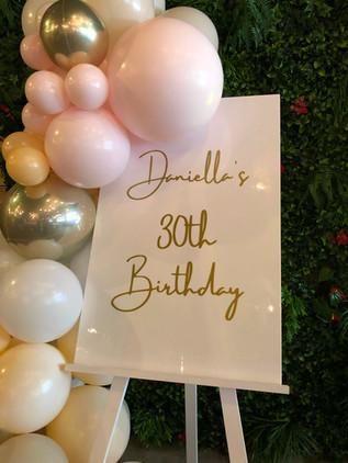 30th Birthday Signage & Balloons