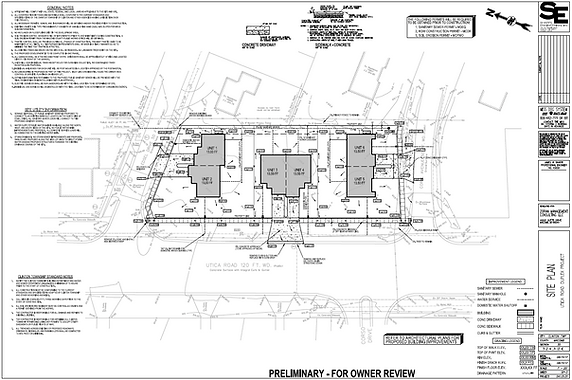 Plan sheet for Utica Road Duplex in Oxford Township, Michigan