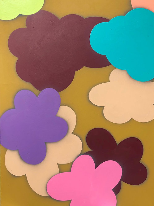 "Acrylic on Panel Titled ""Cloudy with a chance of Flowers I"""