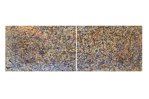 15 Foot Wide Acrylic on Canvas Diptych in the style of Pollack