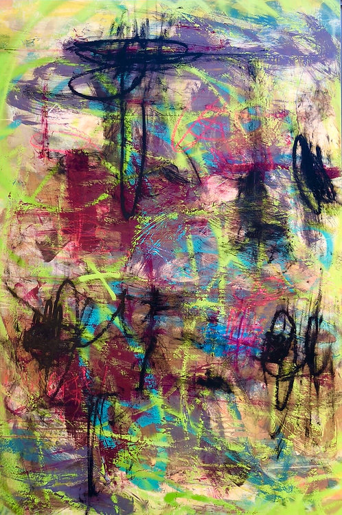Abstract Painting on Panrl by Mirtha Moreno