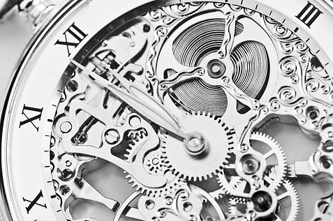 black and white close view of watch mech