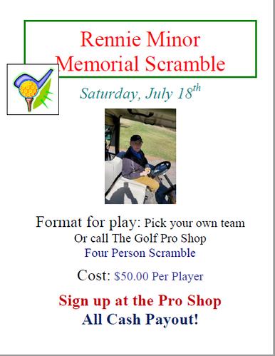 Rennie Minor Memorial Golf Scramble