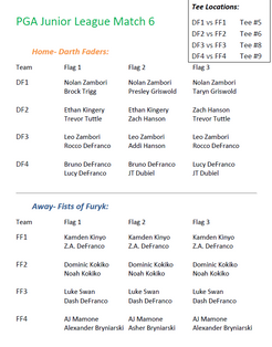 Ping Division Match 6 Pairings
