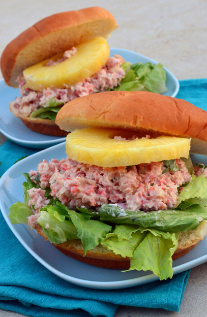 Ham Salad on Bun with Grilled Pineapple
