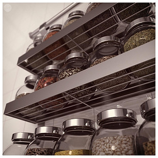 IKEA Grundtal Spice Shelf with Rajtan Spice Jars