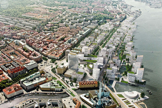 Mixed-use area and waterfront in Masthugget