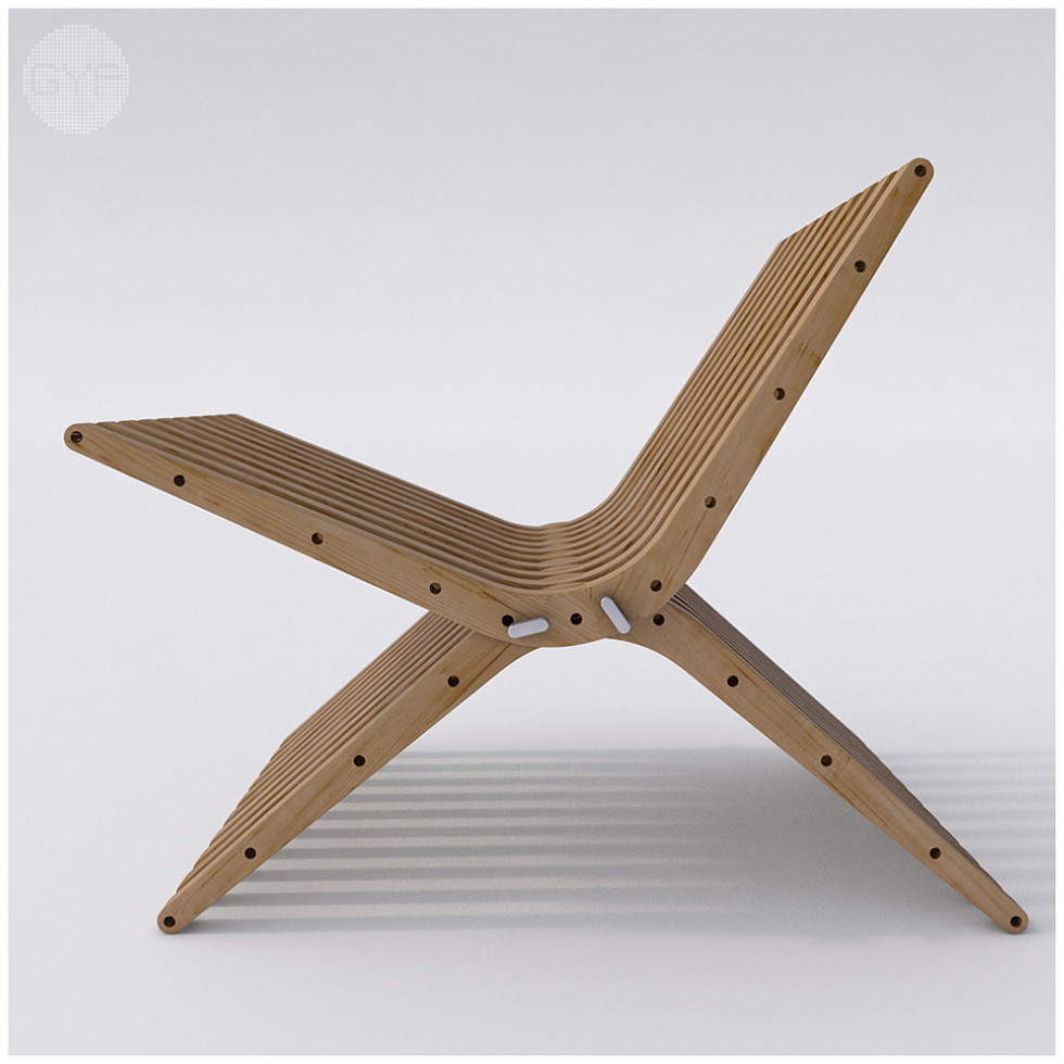 Wooden Lounge Chair BOOMERANG by Atmosfera TM