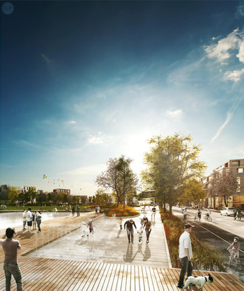 New neighborhood and park Hammarbyhöjden