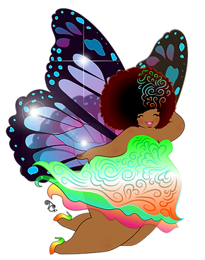 purple butterfly wings fairy curvy black woman with afro lime pink orange dress smiling art by toni tails