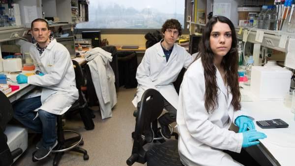 Juan, Jesús y Julia, investigadores del Centro madrileño de Biología Molecular Severo Ochoa.