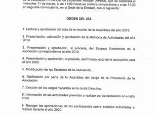 CONVOCATORIA ASAMBLEA (11 de marzo de 2020)