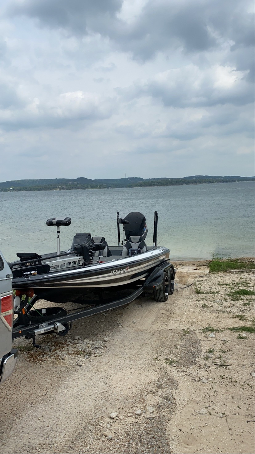 Launching my Skeeter bass boat on Lake Travis